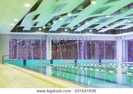 Narva-joensuu, Estonia - January 21, 2017: Lap Pool With Marked Lanes. Empty Swimming Pool Without P