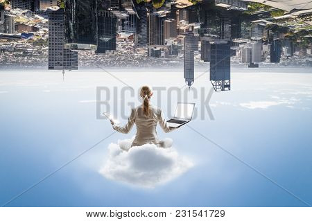 Woman float above city