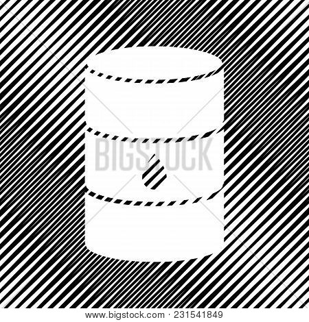 Oil Barrel Sign. Vector. Icon. Hole In Moire Background.