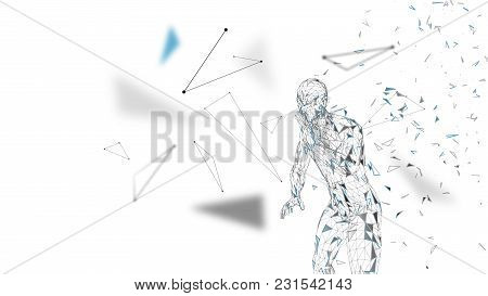 Conceptual Abstract Man Shouting To Someone. Connected Lines, Dots, Triangles, Particles On White Ba