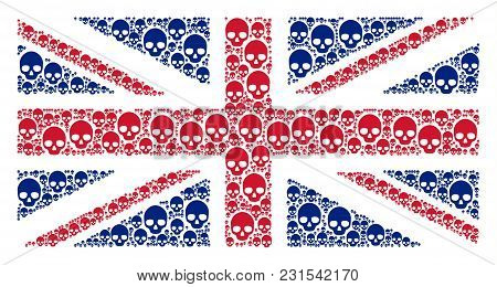 Uk State Flag Collage Done Of Skull Pictograms. Vector Skull Icons Are Organized Into Conceptual Gre