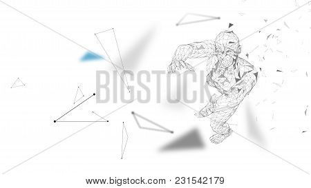 Conceptual Abstract Man With Hands Up. Connected Lines, Dots, Triangles, Particles. Artificial Intel