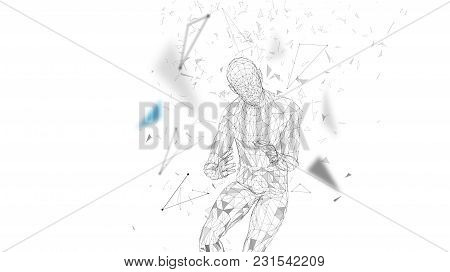 Conceptual Abstract Man With Protective Gesture. Connected Lines, Dots, Triangles, Particles. Cloud