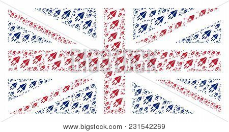 Great Britain State Flag Mosaic Created Of Space Ship Pictograms. Vector Space Ship Items Are Combin