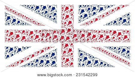 Great Britain Flag Pattern Done Of Starting Star Icons. Vector Starting Star Design Elements Are Com