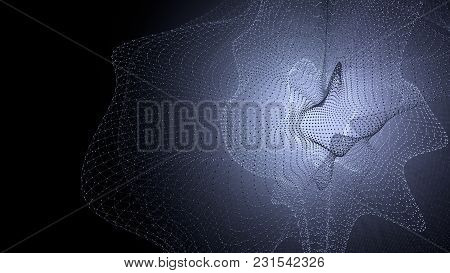 Molecule Model With Connected Lines With Dots On Dark Background. Medicine, Technology, Chemistry Or