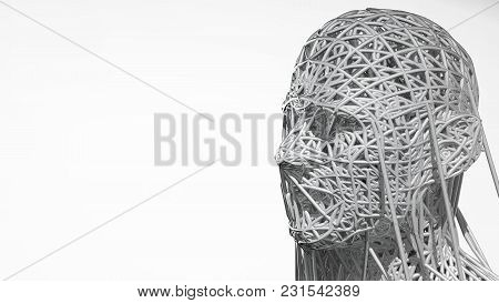3d Rendering Of Cyborg Face On White Background Represent Artificial Intelligence. Future Science, M