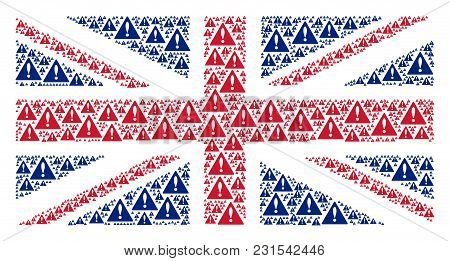 English Flag Composition Organized Of Warning Elements. Vector Warning Design Elements Are Organized