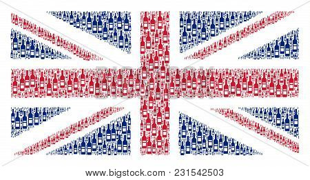 United Kingdom Flag Pattern Constructed Of Wine Bottle Design Elements. Vector Wine Bottle Icons Are
