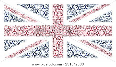 Great Britain State Flag Mosaic Made Of Wmd Nerve Agent Chemical Warfare Pictograms. Vector Wmd Nerv