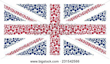 Uk State Flag Collage Composed Of Wmd Nerve Agent Chemical Warfare Design Elements. Vector Wmd Nerve