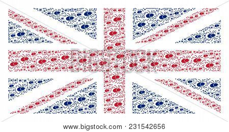 Uk State Flag Composition Designed Of Mite Tick Elements. Vector Mite Tick Icons Are Organized Into