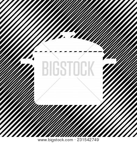 Cooking Pan Sign. Vector. Icon. Hole In Moire Background.