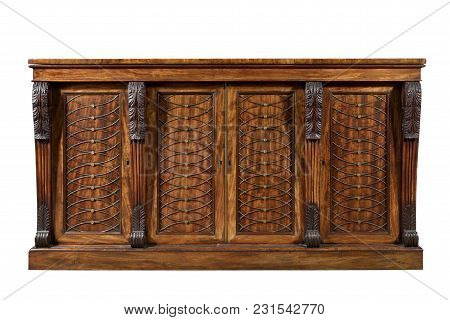 Old English Mahogany Antique Dining Dresser Chiffonier Side Cabinet Or Sideboard With Carving Isolat