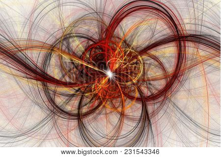 Beautiful Fractal Abstract Line Shapes Illustration - Background, Fractal Red And Yellow Shapes Fant