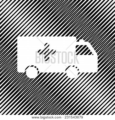 Ambulance Sign Illustration. Vector. Icon. Hole In Moire Background.