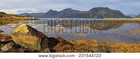Scenic Panoramic View Of Fjord On Lofoten Islands With Towering Mountain Peaks And Reflection In Wat