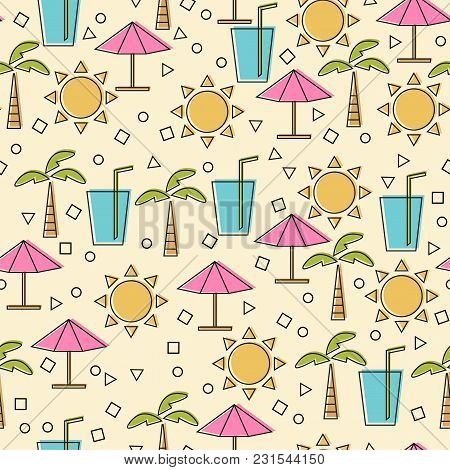 Seamless Pattern With Summer Elements In Thin Line Style. Vector Line Icons - Travel And Vacation Fu