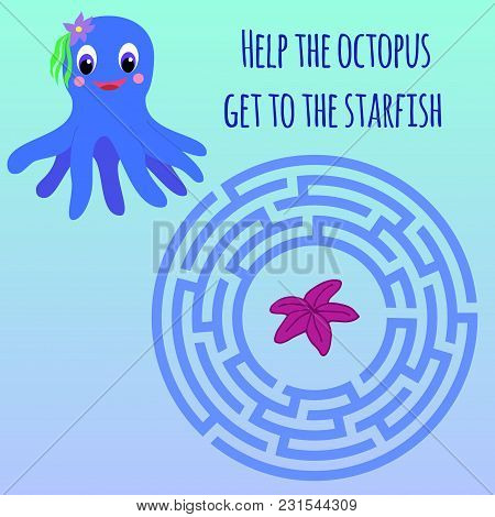 Maze Children Game: Help The Octopus Go Through The Labyrinth And Get To The Starfish