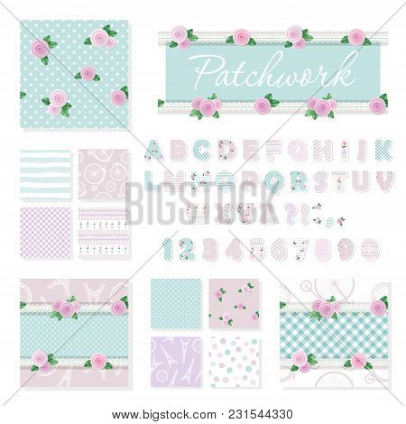 Patchwork Girly Decorative Elements Big Set. Shabby Chic Textile Font And Seamless Pattern Collectio