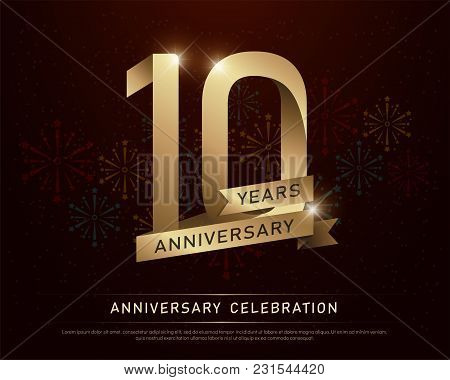 10, 10th, Anniversary, Logo, Year, Gold, Golden, Metal, Vector, Birthday, Background, Celebration, N
