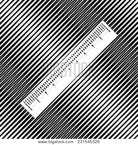 Centimeter Ruler Sign. Vector. Icon. Hole In Moire Background.
