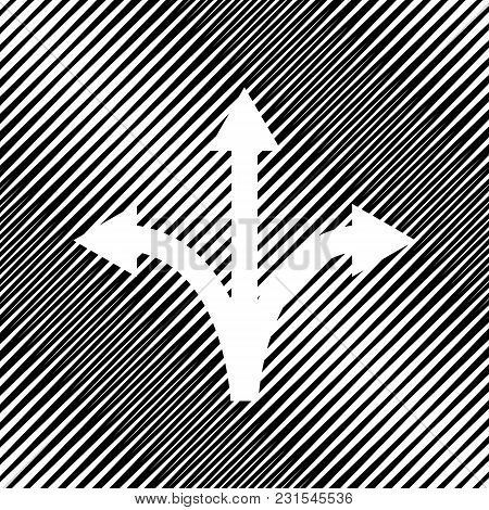 Three-way Direction Arrow Sign. Vector. Icon. Hole In Moire Background.