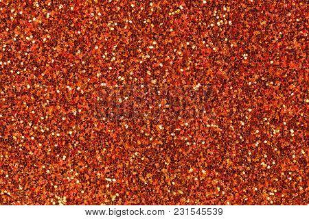 Effective Dark Orange Foam Eva Texture With Glitter. High Resolution Photo.