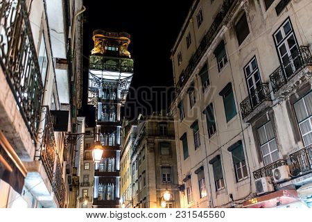 Elevador De Santa Justa, A.k.a. El Grasciaro, In The Night, Santa Justa Elevator, Landmark Of Lisbon