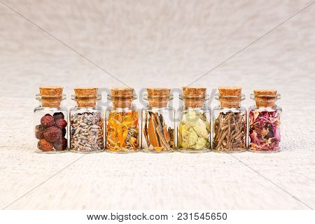 Bottles With Herbs Used In Homeopathy. High Resolution Photo