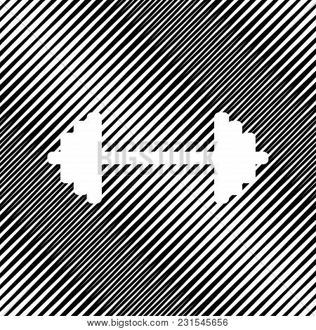 Dumbbell Weights Sign. Vector. Icon. Hole In Moire Background.