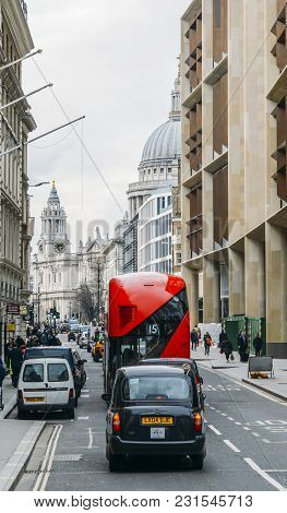London, Uk- Mar 13, 2018: Heritage Red Routemaster Bus Operating In The City Of London. Open Platfor