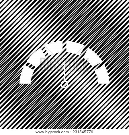 Speedometer Sign Illustration. Vector. Icon. Hole In Moire Background.