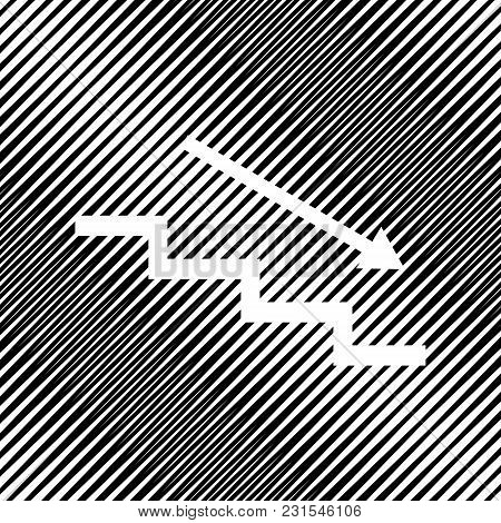 Stair Down With Arrow. Vector. Icon. Hole In Moire Background.