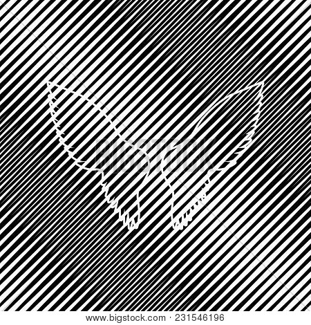 Wings Sign Illustration. Vector. Icon. Hole In Moire Background.
