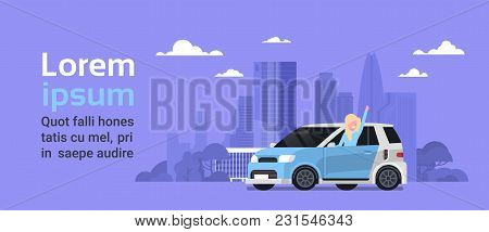 Happy Woman Owner Of New Hybrid Vechicle Over Silhouette City Background With Copy Space Vector Illu