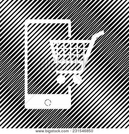 Shopping On Smart Phone Sign. Vector. Icon. Hole In Moire Background.
