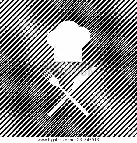 Chef With Knife And Fork Sign. Vector. Icon. Hole In Moire Background.