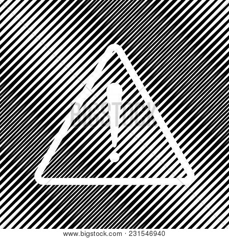 Exclamation Danger Sign. Flat Style. Vector. Icon. Hole In Moire Background.