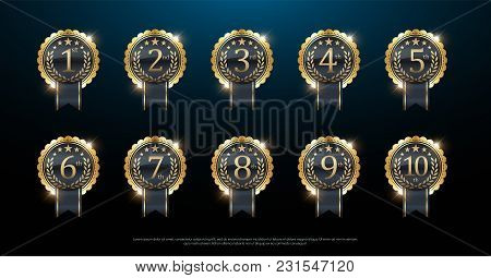 Award Golden Label Of First, Second And Third Winner. 1st, 2nd, 3rd, 4th, 5th, 6th, 7th, 8th, 9th, 1