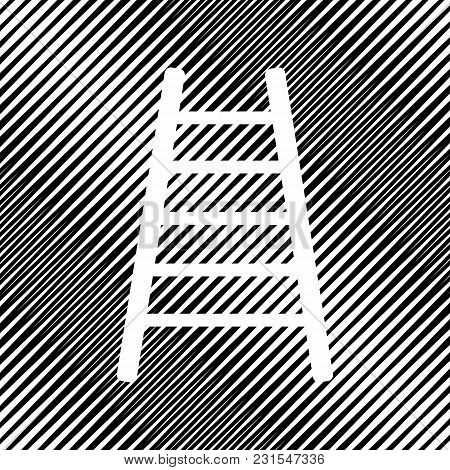 Ladder Sign Illustration. Vector. Icon. Hole In Moire Background.