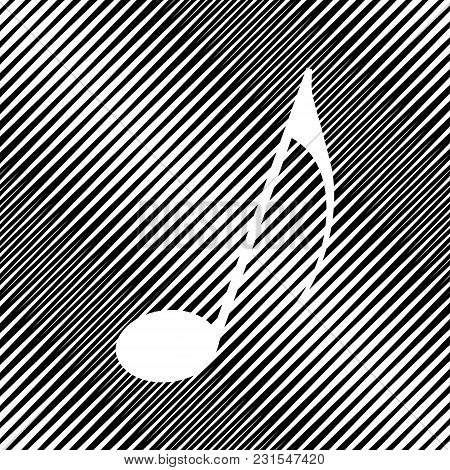 Music Note Sign. Vector. Icon. Hole In Moire Background.