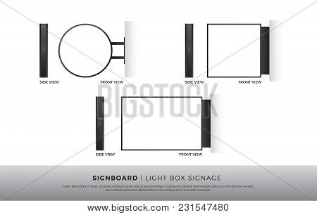 Signboard Blank Round, Square, Rectangle Lightbox Signage Mockup Template Mounted On The Wall. Vecto