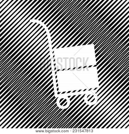 Hand Truck Sign. Vector. Icon. Hole In Moire Background.