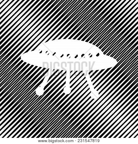Ufo Simple Sign. Vector. Icon. Hole In Moire Background.