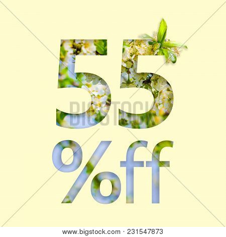 55% Off Discount. The Concept Of Spring Sale, Stylish Poster, Banner, Promotion, Ads.