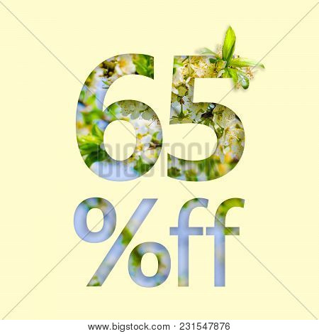 65% Off Discount. The Concept Of Spring Sale, Stylish Poster, Banner, Promotion, Ads.