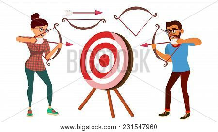Archery Concept Vector. Woman And Man Shooting From A Bow In A Target. Archery Player Aiming At Targ