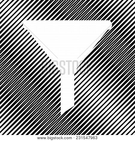 Filter Simple Sign. Vector. Icon. Hole In Moire Background.