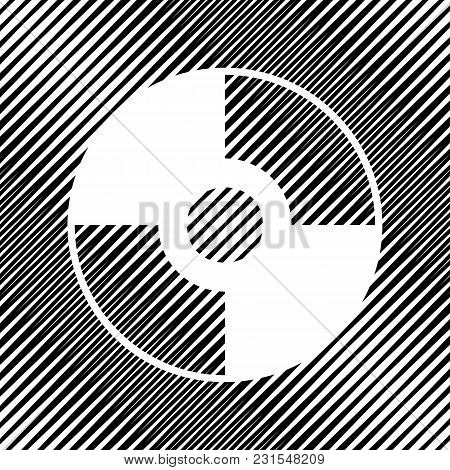 Cd Or Dvd Sign. Vector. Icon. Hole In Moire Background.